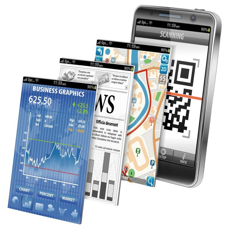 Begrepp - Smartphone applikationer royaltyfri illustrationer
