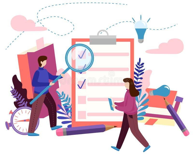 Begrepp som gör listan, kontrollista, gjort jobb, idérik process Modern plan vektorillustration stock illustrationer