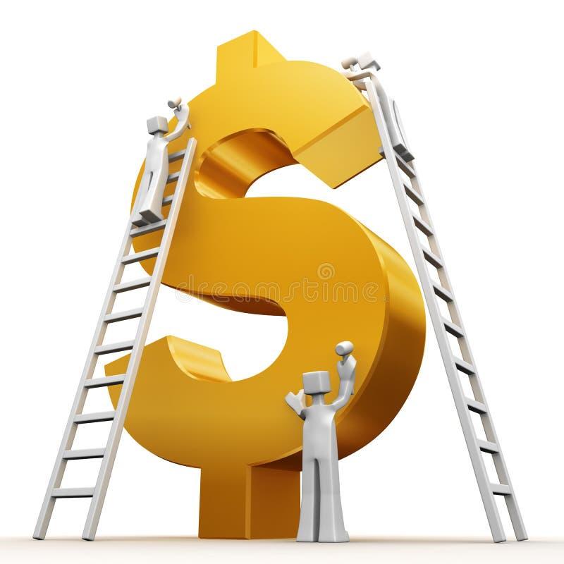 begrepp som gör pengarteamwork royaltyfri illustrationer