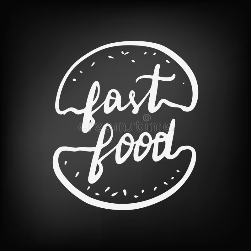 Begrepp som märker logoen för snabbmatkafé och restaurang vektor illustrationer