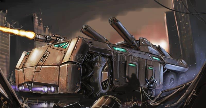 Begreppet Art Painting av denapokalyptiska pansarbilen eller behållaren som slåss i stad, fördärvar royaltyfri foto