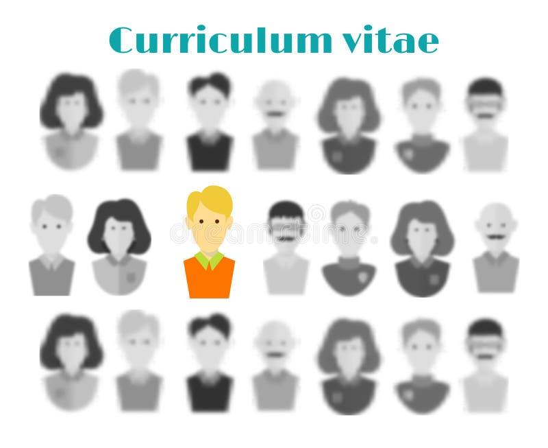 Begreppet av anställning headhuntersökande Valet av kandidaten som arbetar från många personer Val av en kandidat fo stock illustrationer