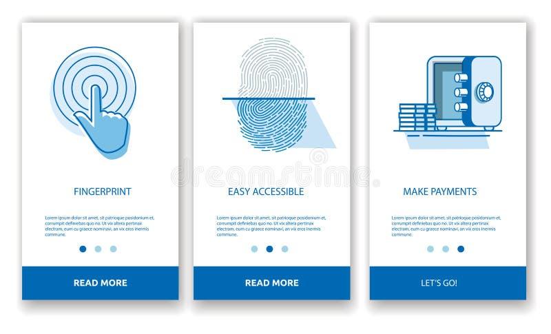 Begreppet av att skriva in en mobil applikation med ett fingeravtryck stock illustrationer