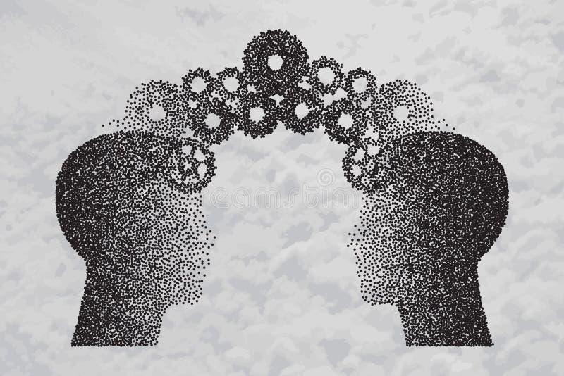 Begreppet av att storma för hjärna, kunskap som between delar till folk, head stock illustrationer