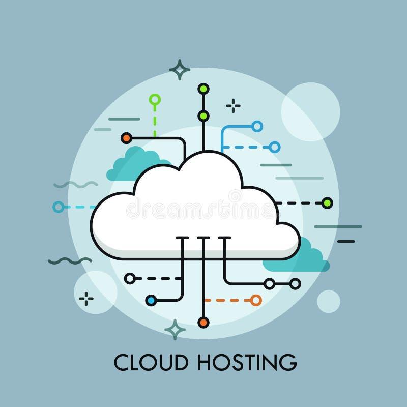 Begreppet av beräknande service eller teknologi för moln, stor datalagring och att vara värd, online-mappnedladdningen, laddar up stock illustrationer