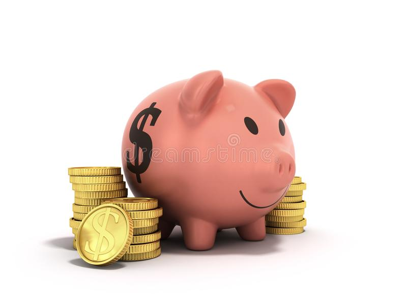 Begreppet av besparingar pengarsvin somdollaren myntar 3d, framför på vit vektor illustrationer