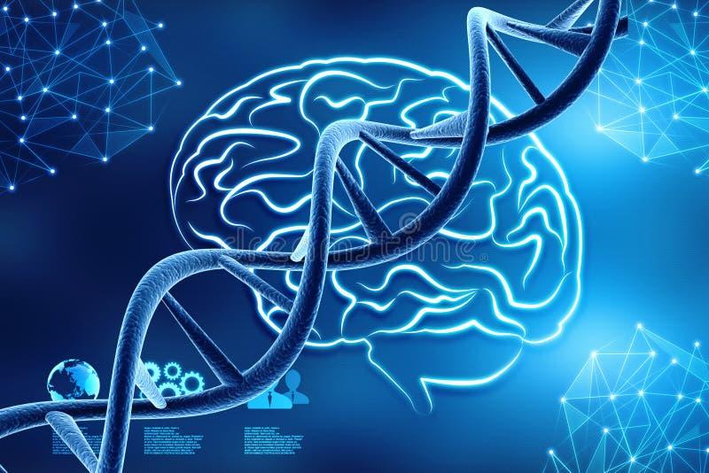 Begreppet av biokemi med dna-molekylen i läkarundersökning gör sammandrag bakgrund framförande 3d vektor illustrationer