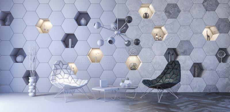 Begreppet av den moderna inredesignen, futuristisk vardagsrum 3d framför vektor illustrationer