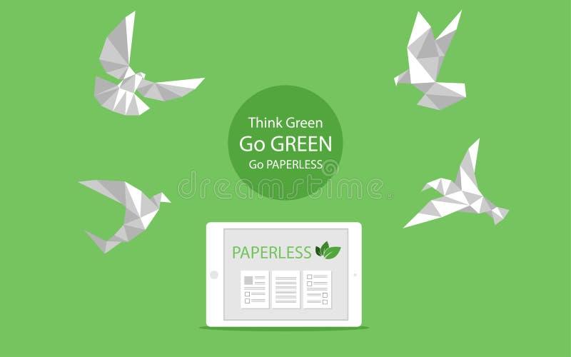 Begreppet av den paperless vitbokfågelflugan går gräsplan, sparar planeten arkivbild