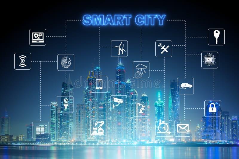 Begreppet av den smarta staden och internet av saker stock illustrationer