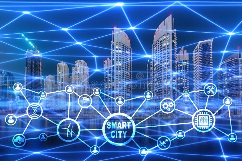 Begreppet av den smarta staden och internet av saker vektor illustrationer