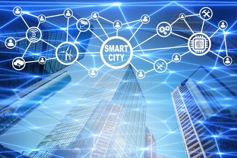 Begreppet av den smarta staden och internet av saker royaltyfri illustrationer