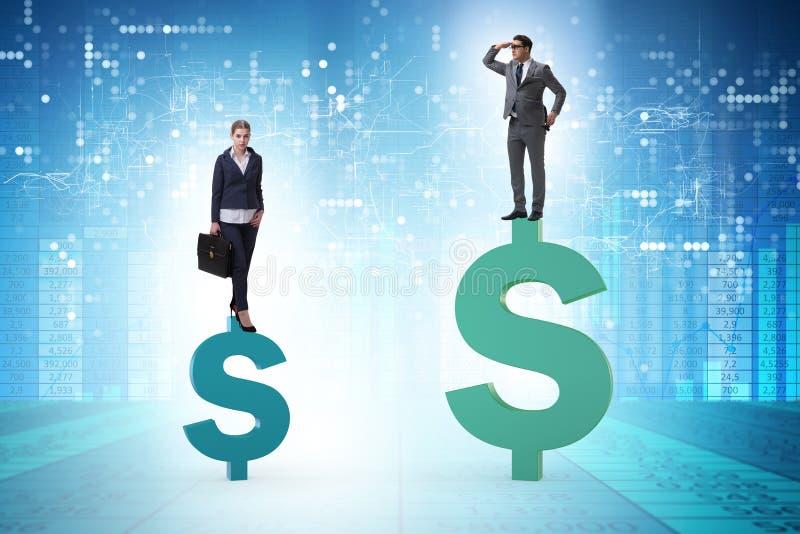 Begreppet av det inequal lön- och genusmellanrummet mellan mankvinnan royaltyfri bild