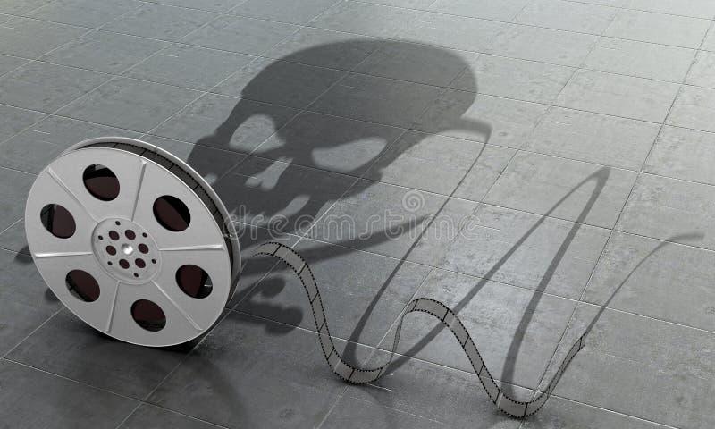 Begreppet av det piratkopierade innehållet Piratkopiera filmy royaltyfri illustrationer