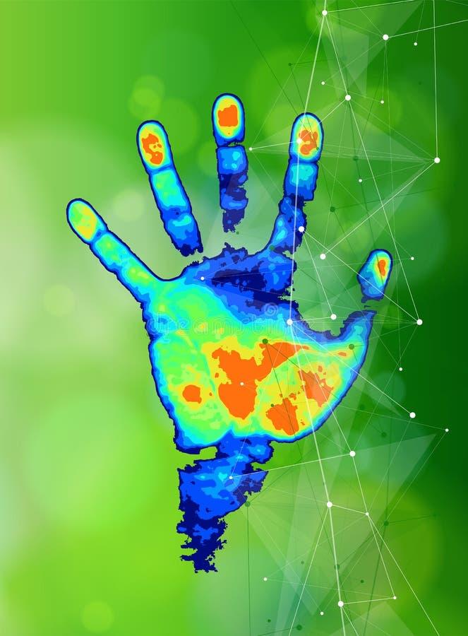 Begreppet av digitalt ID & erkännande - färga det termiska handtrycket royaltyfri illustrationer