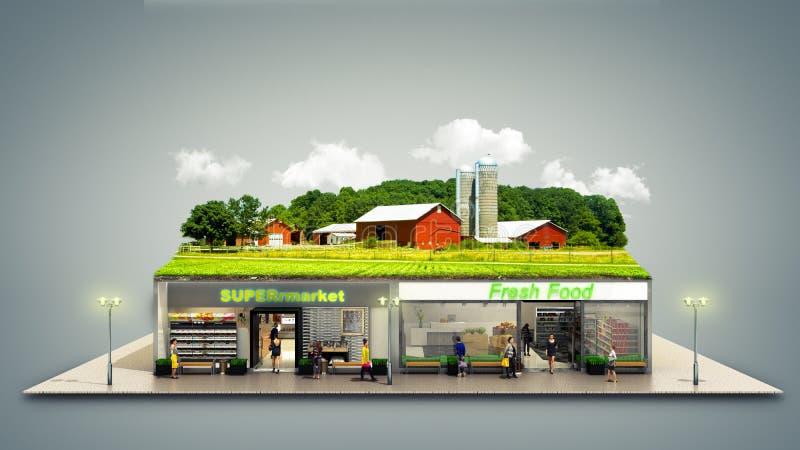 begreppet av ekologiskt ren mat ställer ut den supermar livsmedelsbutiken vektor illustrationer