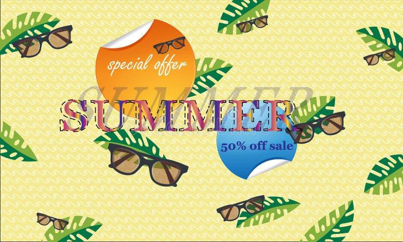 Begreppet av en vykort på ett sommartema med sommarattribut Vektorillustration, baner - Bildvectorielles royaltyfri illustrationer