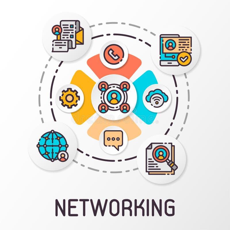 Begreppet av ett socialt nätverk som innehåller kommunikationssymboler också vektor för coreldrawillustration stock illustrationer