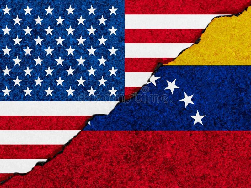 Begreppet av förbindelse/konflikt mellan Venezuela och Amerikas förenta stater symboliserade flaggor som målades på en sprucken v vektor illustrationer