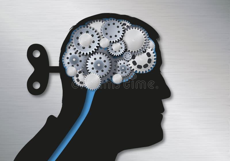 Begreppet av fejkar nyheterna och behandlig som baktill symboliseras av ett mänskligt huvud med en skiftnyckel av skallen som tar stock illustrationer