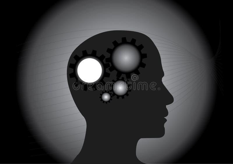 Begreppet av fungera av den mänskliga hjärnan royaltyfri illustrationer
