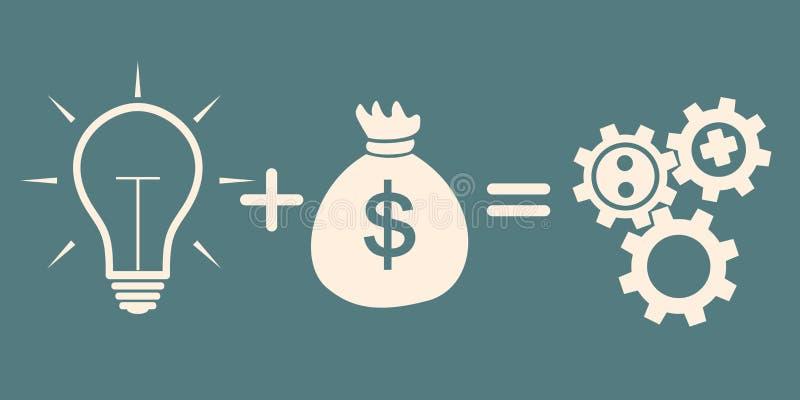 Begreppet av investeringen idé plus pengarjämlikekugghjul stock illustrationer