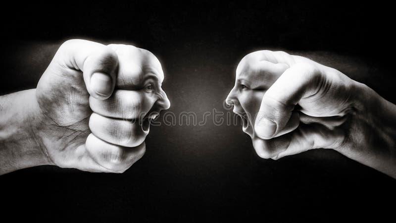 Begreppet av konfrontation, konkurrens, familj grälar etc. royaltyfria foton