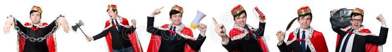 Begreppet av konungaffärsmannen med kronan arkivfoto