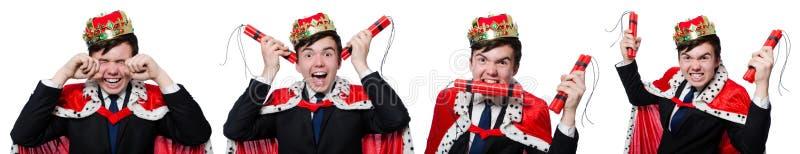 Begreppet av konungaffärsmannen med kronan fotografering för bildbyråer