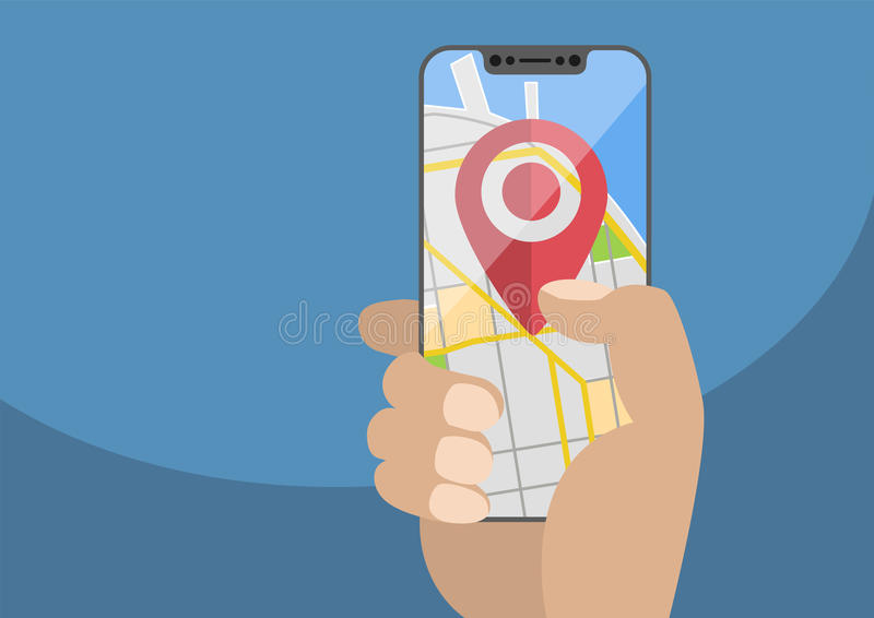 Begreppet av läge/GPS baserade service på mobila enheter vektor illustrationer