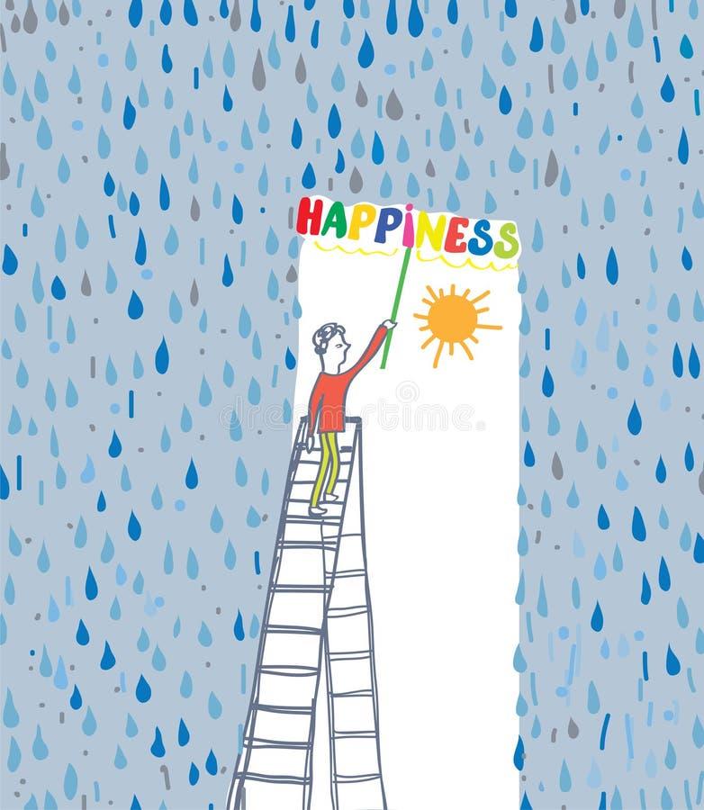Begreppet av lyckan - skydda sig från dåliga sinnesrörelse och händelser stock illustrationer