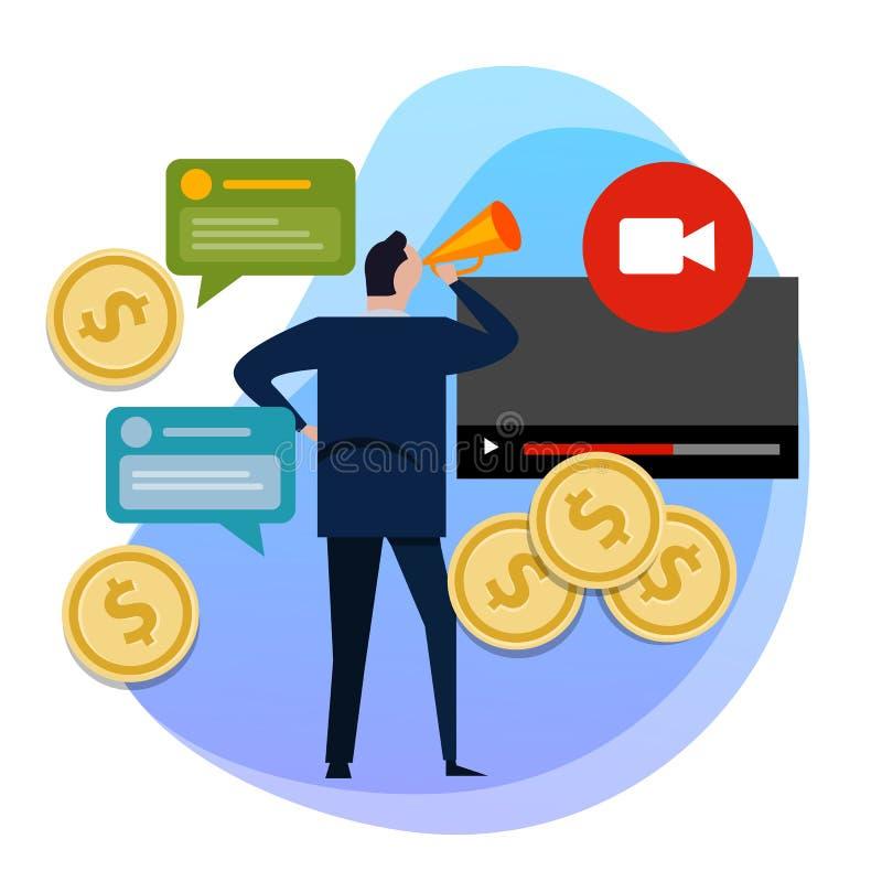 Begreppet av monetization av videoen Danandepengar på videoinnehåll mynt royaltyfri illustrationer
