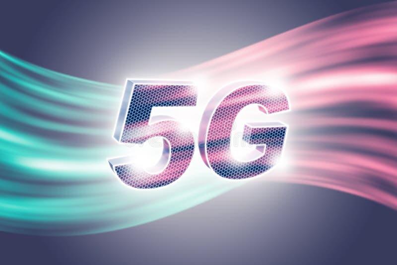Begreppet av nätverket för teknologi 5G, den snabba mobila internet, ny generation knyter kontakt framf?rande 3d stock illustrationer