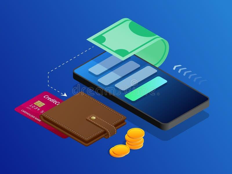 Begreppet av online-betalning för elektroniska räkningar, mobil betalning, shopping, bankrörelse Isometrisk illustrationbetalning royaltyfri illustrationer