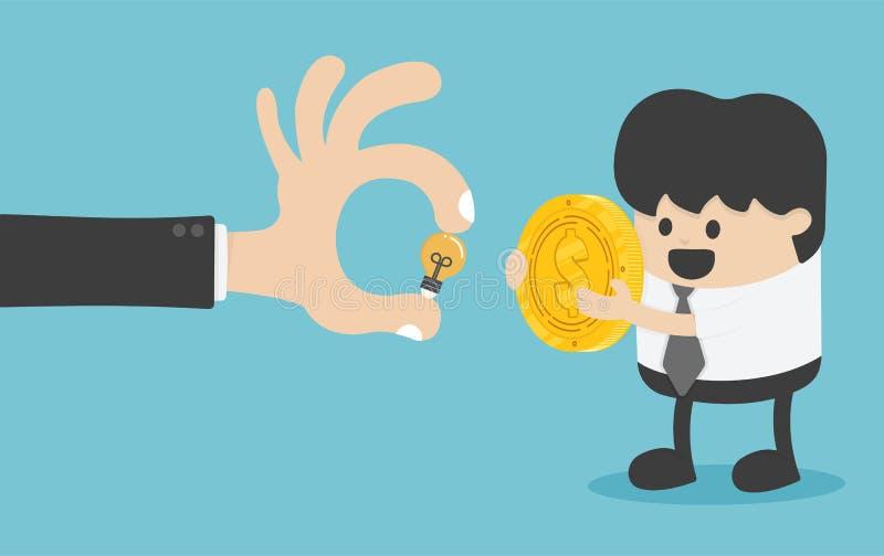 Begreppet av pengarutbytet med kreativitet har det största värdet stock illustrationer