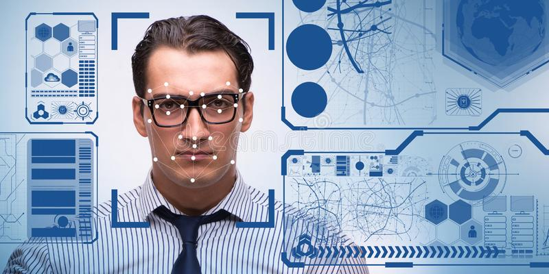 Begreppet av programvara och maskinvara för framsidaerkännande royaltyfria foton
