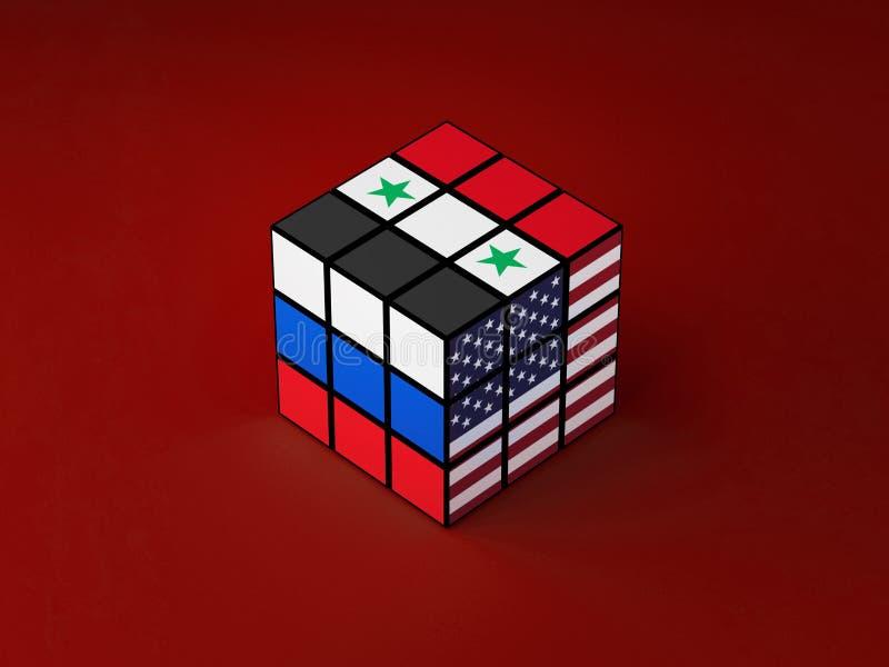 Begreppet av Ryssland, Syrien, USA konfliktproblem löste rubik illustration 3d stock illustrationer