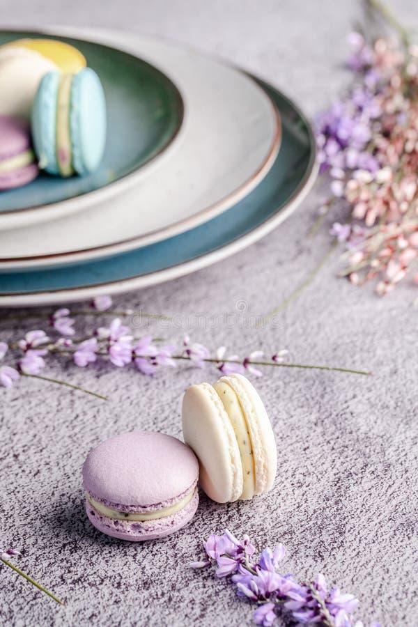 Begreppet av skandinavisk kokkonst Fransk macaronefterrätt Handgjort olikt format för skandinaviska plattor Bästa sikt, kopiering fotografering för bildbyråer