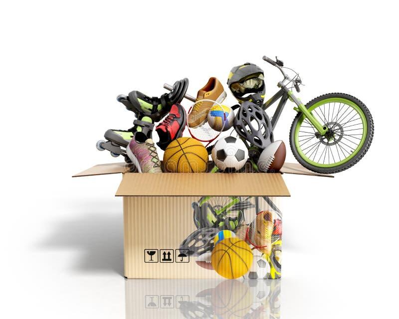 Begreppet av sportar f?r produktkategorier b?r och utrustning i asken 3d f?r att framf?ra p? vit royaltyfri illustrationer