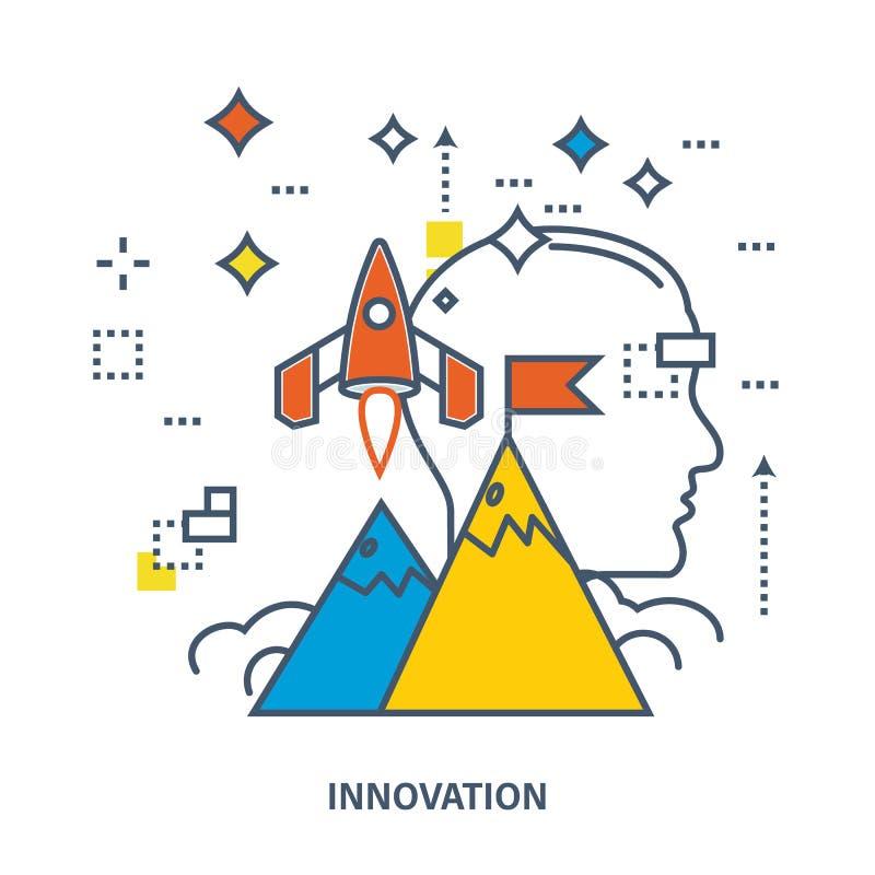 Begreppet av startar upp affär och innovation vektor illustrationer