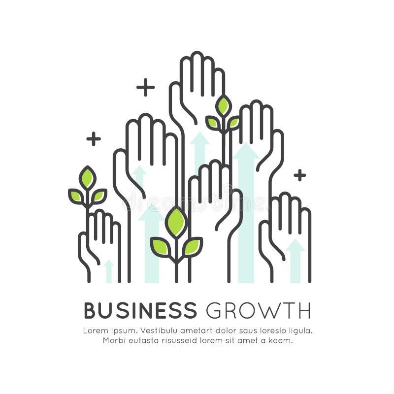 Begreppet av startar upp tillväxt, utveckling och att öka för affär royaltyfri illustrationer