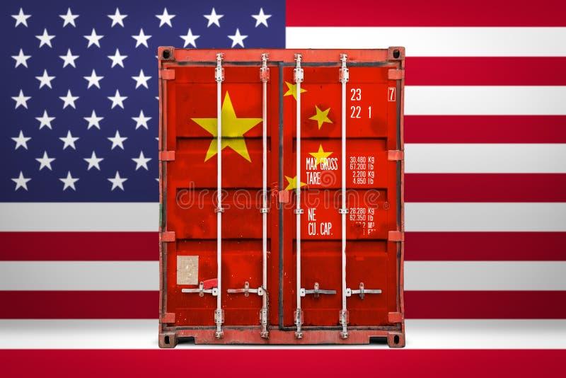 Begreppet av USA och den Kina export-importen royaltyfri bild