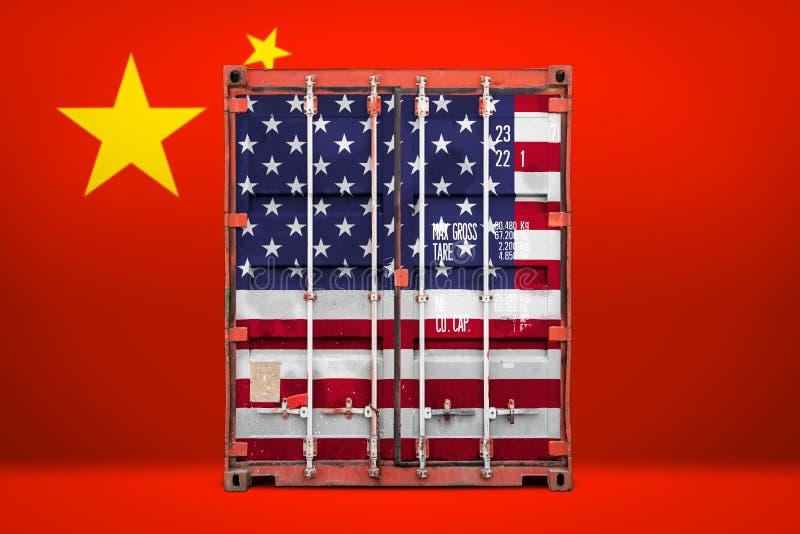 Begreppet av USA och den Kina export-importen royaltyfria foton