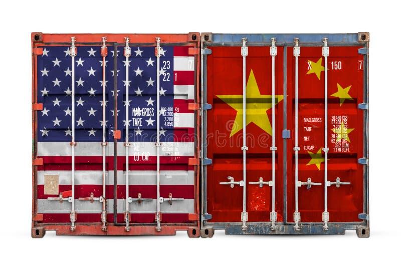 Begreppet av USA och den Kina export-importen arkivbild