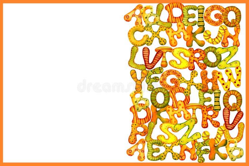 Begreppet av utbildning Engelskt alfabet av mångfärgade vattenfärgbokstäver på en vit bakgrund för designen av banret, stock illustrationer