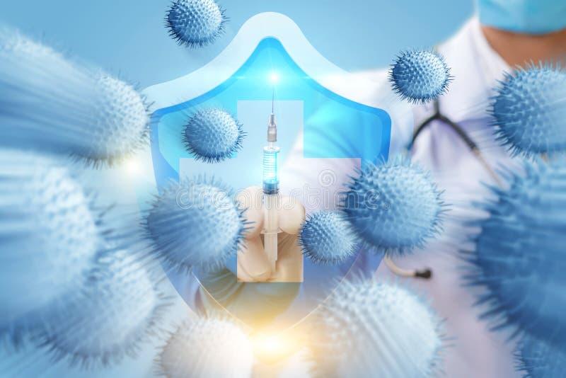 Begreppet av vård- skydd från virus royaltyfri fotografi