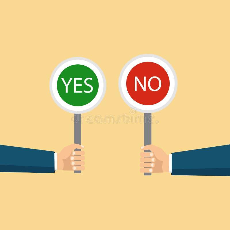 Begreppet av valet, det högra valet och ett fel beslut stock illustrationer