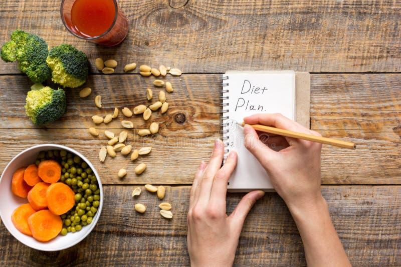 Begreppet bantar och att banta plan med åtlöje för bästa sikt för grönsaker upp royaltyfri foto