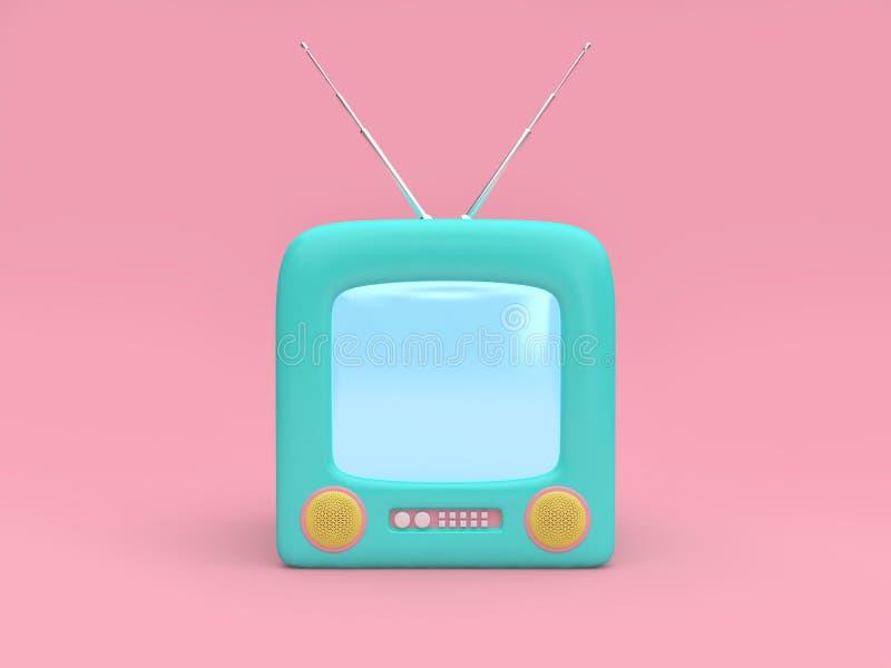 begreppet 3d för teknologi för bakgrund för gammal television för tecknade filmen framför det minsta rosa vektor illustrationer