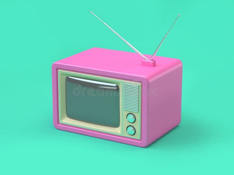 Begreppet 3d för teknologi för bakgrund för rosa gammal televisiontecknad filmstil framför det abstrakta minsta gröna vektor illustrationer